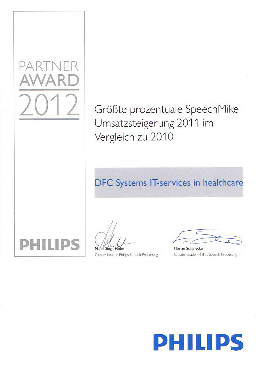 DFC-SYSTEMS erhält den Philips Partner Award 2011